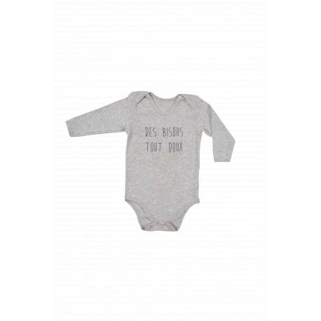 LE BODY MIXTE« DES BISOUS TOUT DOUX « COTON/ARGENT